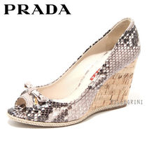 PRADA Open Toe Leather Python Peep Toe Pumps & Mules