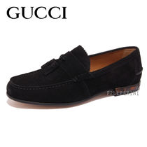 GUCCI Loafers Suede Plain Loafers & Slip-ons