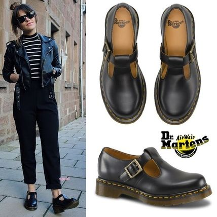 Dr Martens Round Toe Rubber Sole Plain Leather Loafer Pumps & Mules