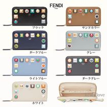 FENDI Calfskin Bi-color Long Wallets