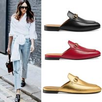 GUCCI Princetown Round Toe Street Style Plain Leather Elegant Style Slippers