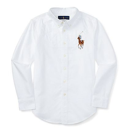 Ralph Lauren Street Style Long Sleeves Plain Cotton Shirts