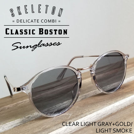 Round Boston Clear Frame Metal Combination Eyewear Light