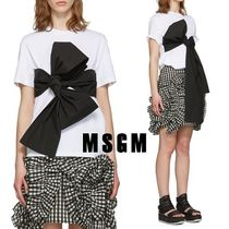 MSGM Plain Cotton Short Sleeves Shirts & Blouses
