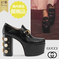 GUCCI Square Toe Studded Plain Leather Elegant Style Chunky Heels