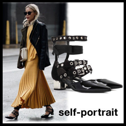 Lace-up Street Style Collaboration Plain Leather Block Heels