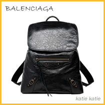 BALENCIAGA Black Lambskin Classic Traveller S Backpack