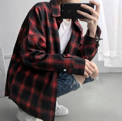 Tartan Street Style Long Sleeves Shirts