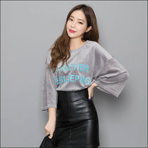 Street Style U-Neck Cropped Plain Cotton Medium T-Shirts