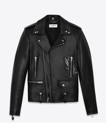Saint Laurent Short Street Style Plain Leather Biker Jackets