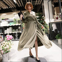 Maxi V-Neck Long Sleeves Long Elegant Style Khaki Dresses
