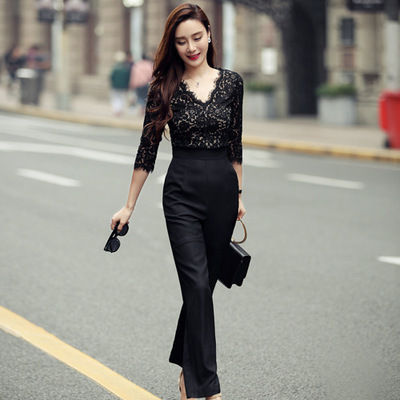 lace switch 7 sleeve overalls pants suit