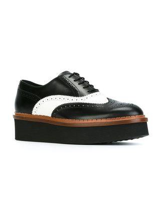 TOD'S Platform Round Toe Lace-up Bi-color Leather Handmade