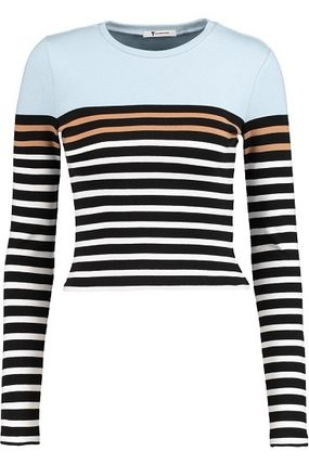 Crew Neck Short Stripes Long Sleeves Cotton Cropped