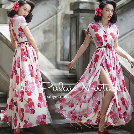 Flower Patterns Maxi Long Short Sleeves Party Dresses