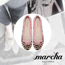 marcha BALLERINA Leopard Patterns Round Toe Casual Style Faux Fur