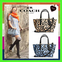 Coach CROSBY Leopard Print Ocelot Mini Carryall Bag (Apricot/Blue)