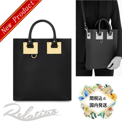 SOPHIE HULME 2WAY Plain Leather Elegant Style Totes
