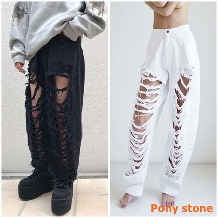 PONY STONE Casual Style Street Style Plain Cotton Long Jeans