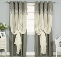 Flower Patterns Blended Fabrics Plain Curtains