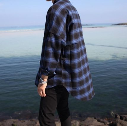 Other Check Patterns Street Style Long Sleeves Plain Shirts