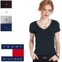 Tommy Hilfiger Casual Style V-Neck Plain Cotton Short Sleeves T-Shirts