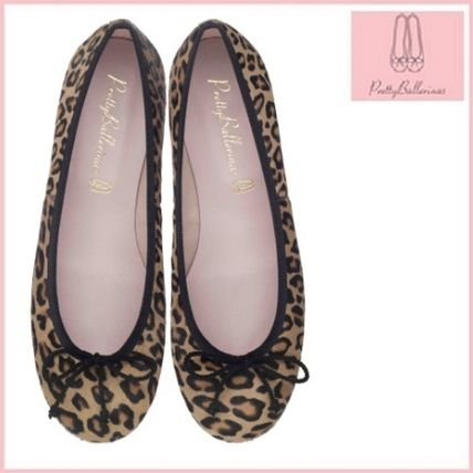 Leopard Patterns Round Toe Casual Style Leather Flats