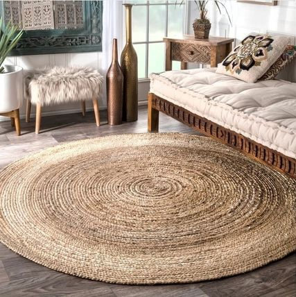 Size / color natural round rug 121. 4 ')