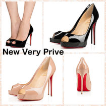 Christian Louboutin Open Toe Plain Leather Pin Heels Stiletto Pumps & Mules