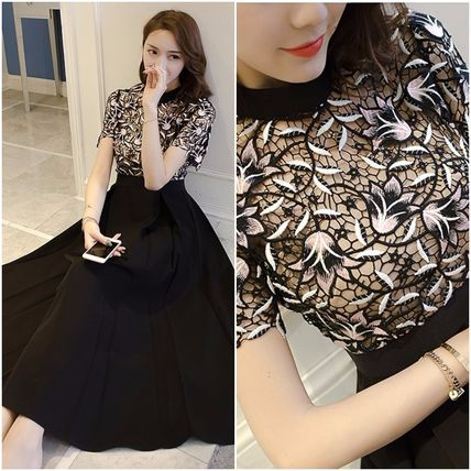 Flared Medium Short Sleeves High-Neck Midi Lace