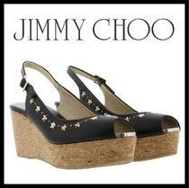 Jimmy Choo Star Open Toe Casual Style Studded Plain Leather