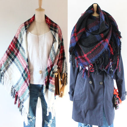 Tartan Casual Style Fringes Lightweight Scarves & Shawls