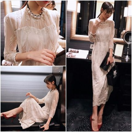 See-through flower pattern embroidery three-quarter sleeve