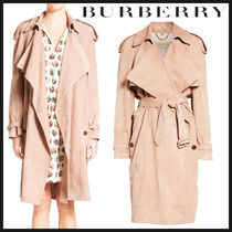 Burberry Suede Plain Medium Elegant Style Trench Coats