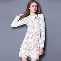 Wrap Dresses Short Flower Patterns Long Sleeves Lace