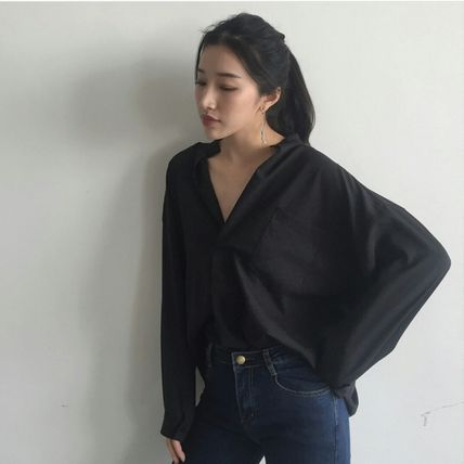 Shirts & Blouses Casual Style Long Sleeves Plain Cotton Shirts & Blouses 4
