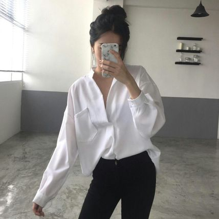 Shirts & Blouses Casual Style Long Sleeves Plain Cotton Shirts & Blouses 5