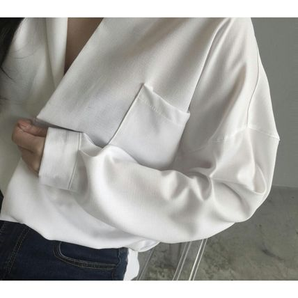 Shirts & Blouses Casual Style Long Sleeves Plain Cotton Shirts & Blouses 6