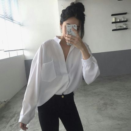 Shirts & Blouses Casual Style Long Sleeves Plain Cotton Shirts & Blouses 8