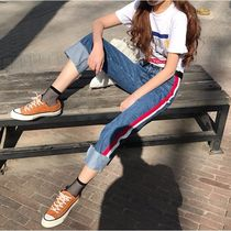 Stripes Casual Style Denim Street Style Plain Long Jeans