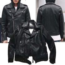 Short Faux Fur Studded Plain Biker Jackets