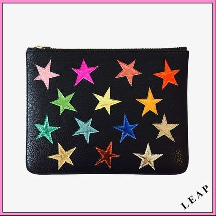 Star Casual Style Faux Fur Clutches