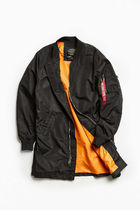 ALPHA INDUSTRIES Street Style Plain Long Bomber Jackets