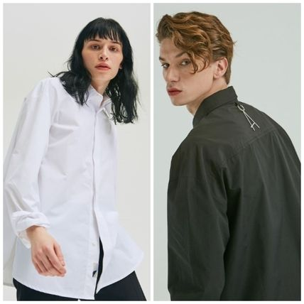 add Shirts Unisex Street Style Long Sleeves Plain Oversized Shirts