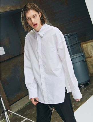 add Shirts Unisex Street Style Long Sleeves Plain Oversized Shirts 2