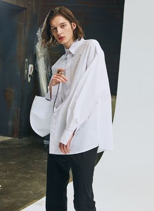 add Shirts Unisex Street Style Long Sleeves Plain Oversized Shirts 3