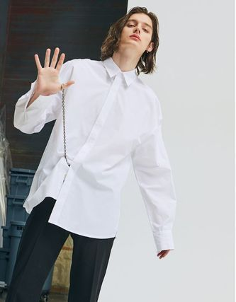 add Shirts Unisex Street Style Long Sleeves Plain Oversized Shirts 4