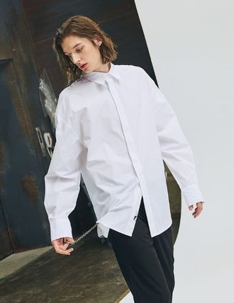 add Shirts Unisex Street Style Long Sleeves Plain Oversized Shirts 5