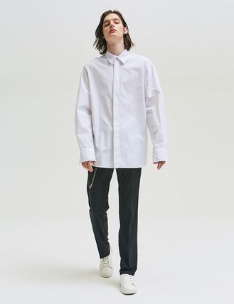 add Shirts Unisex Street Style Long Sleeves Plain Oversized Shirts 7