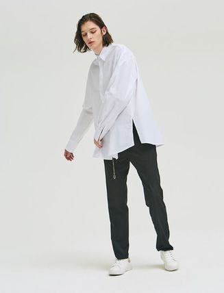 add Shirts Unisex Street Style Long Sleeves Plain Oversized Shirts 8